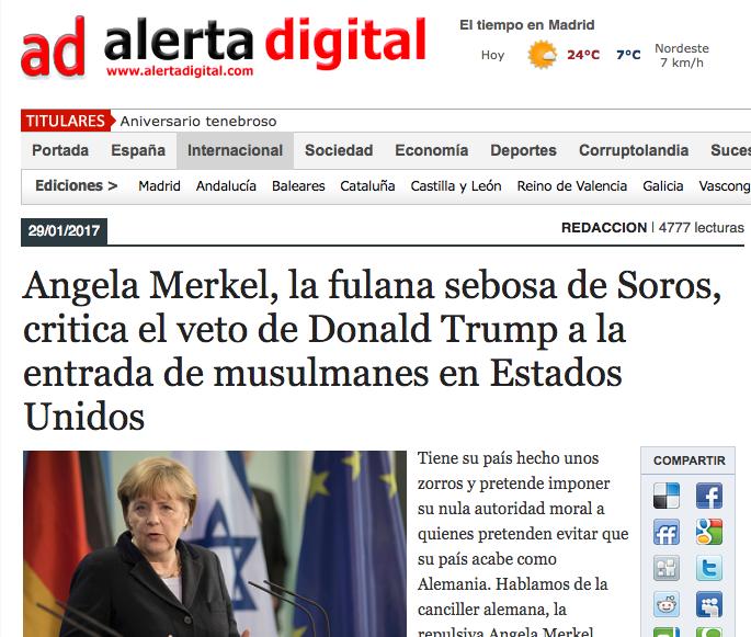 Alerta digital: Angela Merkel, la fulana sebosa de Soros, critica el veto de Donald Trump a la entrada de musulmanes en Estados Unidos