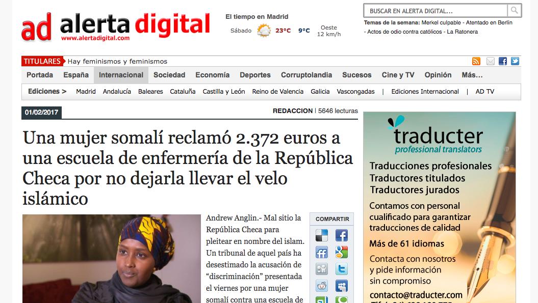 Alerta Digital: Una mujer somalí reclamó 2.372 euros a una escuela de enfermería de la República Checa por no dejarla llevar el velo islámico