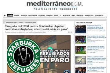 Mediterráneo Digital: Campaña del hsm contra starbucks aqui se contratan refugiados mientras tu estas en paro