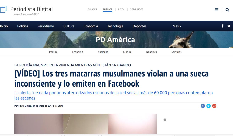 Periodista Digital: [VÍDEO] Los tres macarras musulmanes vilan a una sueca inconsciente y lo emiten en Facebook