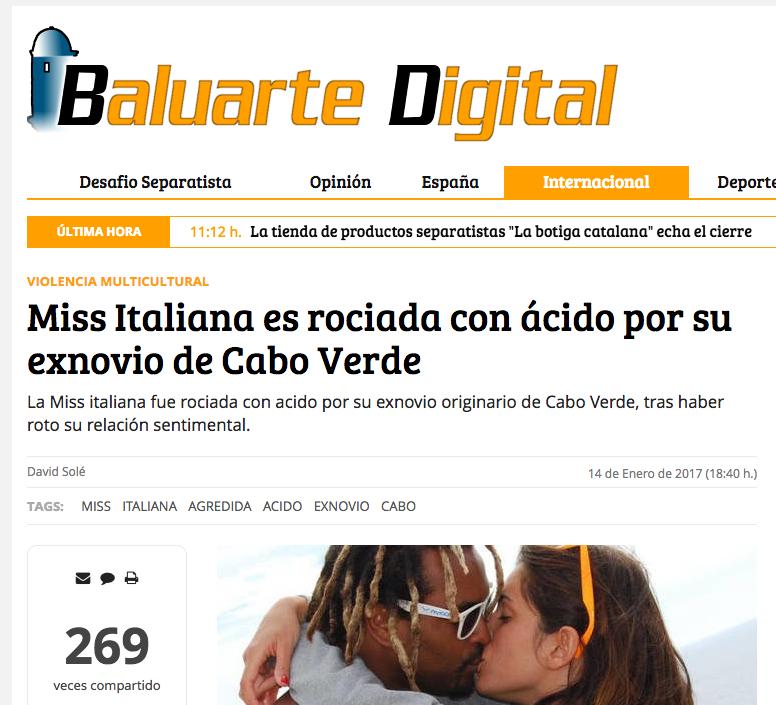 Baluarte Digital: Miss Italiana es rociada con ácido por su exnovio de Cabo Verde