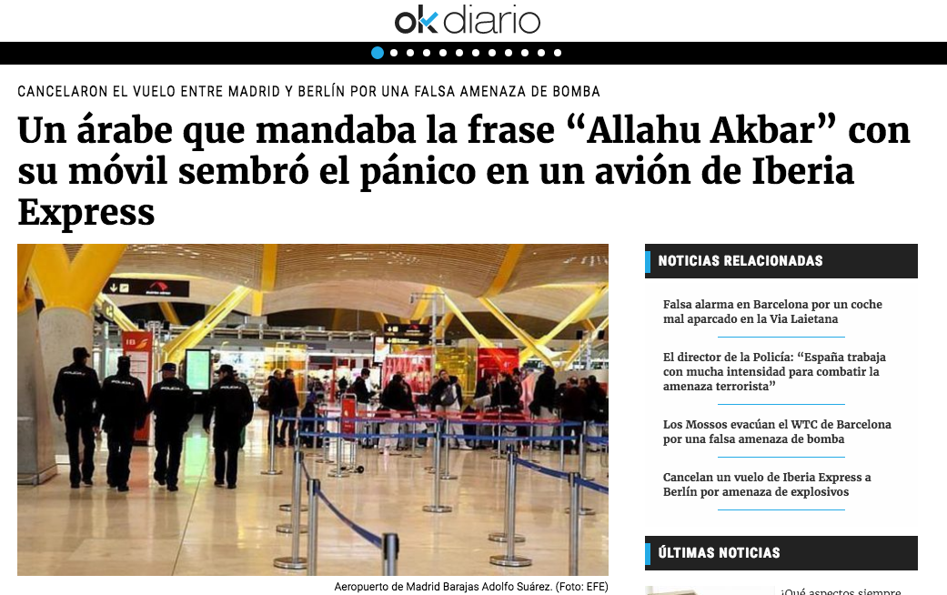 "OK diario: Un árabe que mandaba la frase ""Allahu Akbar"" con su móvil sembró el pánico en un avión de Iberia Express"