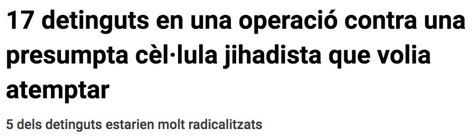 17 detinguts en una operació contra una presumpta cèl·lula jihadista que volia atemptar