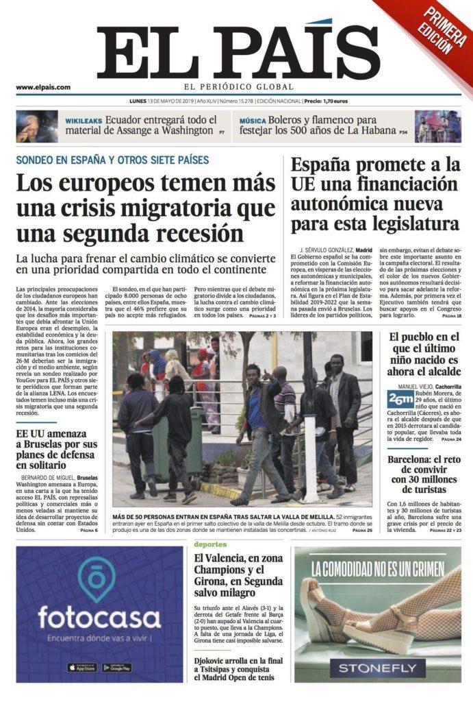 Portada El País, 13 de maig de 2019