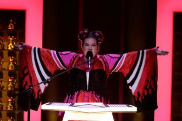 La participant israeliana a Eurovisió Netta Barziliai després de guanyar el concurs el 12 de maig de 2018. Foto: Heknez08 / Wikimedia Commons.