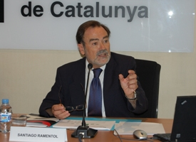 El conseller del CAC Santiago Ramentol en la presentació de l'estudi