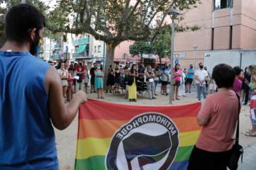 Concentració de rebuig a una agressió LGTBIfòbica a Salt l'agost del 2020. Foto: Marina López / ACN.