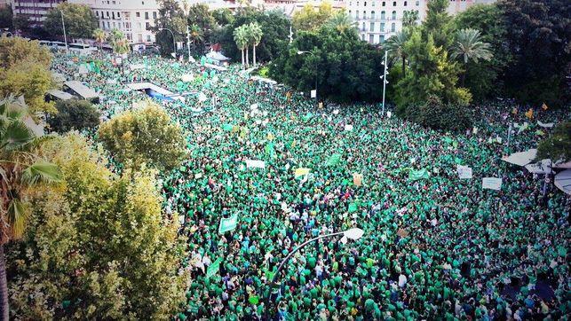 """L'anomenada """"marea verda"""" en protesta pel TIL i les retallades en educació va recórrer les capitals illenques de les Balears el 29 de setembre de 2013."""