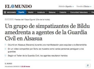 Notícia sobre el 'cas Altsasu' al web d''El Mundo', el 29 d'agost de 2015.
