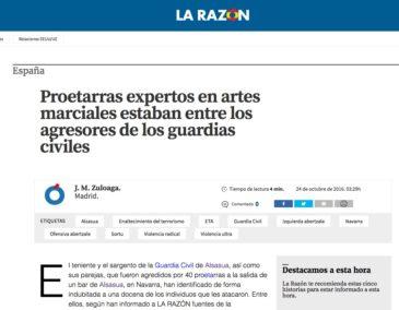 Notícia sobre el 'cas Altsasu' al web de 'La Razón', el 24 d'octubre de 2016.