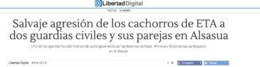 """Notícia al web """"Libertad Digital"""" sobre el """"cas Altsasu"""", el 15 d'octubre de 2016."""