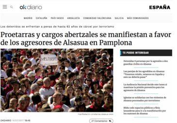 "Notícia d'""OK Diario"" sobre el ""cas Altsasu"", el 14 de juliol de 2017."