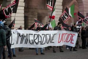 Manifestants del partit neofeixista italià Forza Nuova