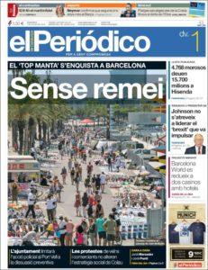 Portada d'El Periódico de l'1 de juliol de 2016.