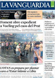 Portada de La Vanguardia del 4 de juliol de 2016.
