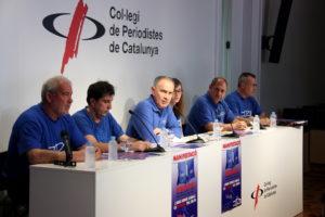 Representants de la Plataforma en Defensa de l'Ebre expliquen, en roda de premsa al Col·legi de Periodistes de Catalunya el maig del 2016, els detalls de la manifestació convocada a Barcelona el 5 de juny d'aquell any. Foto: Marc Ferragut Massanet / ACN.