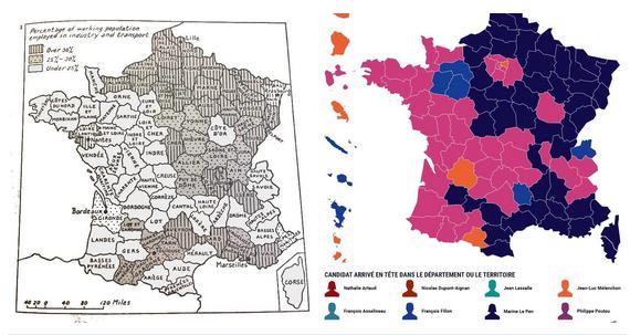 Resultats electorals vs. industrialització a França