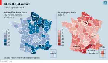 Suport a Le Pen en relació a la taxa d'atur, de The Economist.