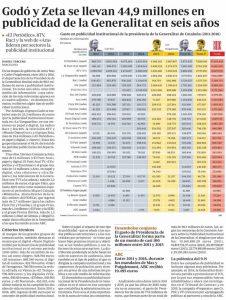 Article de l'ABC sobre els mitjans que han rebut publicitat institucional de la Generalitat.