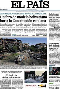 Portada d''El País' del 3 de juliol de 2017.