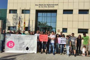 Aturada dels treballadors d'IB3 el maig de 2017 per protestar contra un concurs públic 'insuficient'. Foto: @Estudios_IB3.