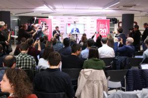 La primera roda de premsa autoritzada dels candidats a les eleccions del 2017 presos a Soto del Real, que va aplegar més d'un centenar de periodistes a la seu central de l'ACN. Foto: Bernat Vilaró / ACN.