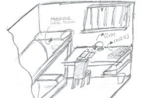 Dibuix de la cel·la de Jordi Cuixart, fet per ell mateix. Imatge: usvolemacasa.cat