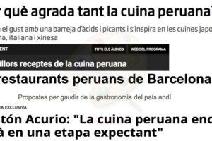 Titulars sobre cuina peruana en mitjans catalans.