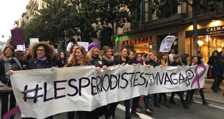 Bloc de dones periodistes a la manifestació del 8 de març de 2018. Foto: Elisenda Rovira.