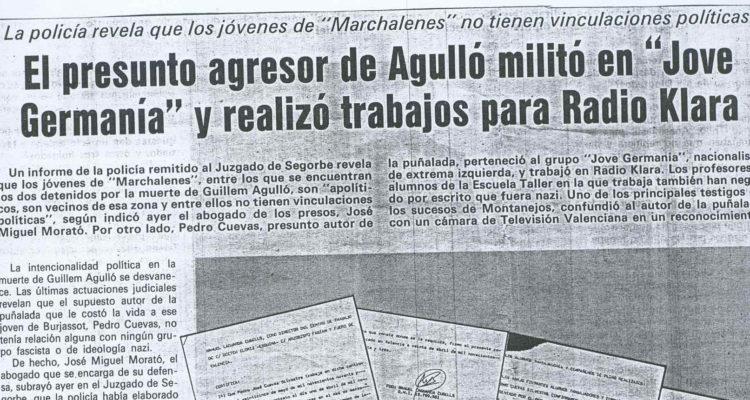 La manipulació de Las Províncias: intent de vinculació de l'assassí de Guillem Agulló a l'esquerra valenciana