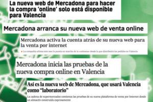 Titulars de premsa en motiu del llançament del nou web de Mercadona. Imatge: Mèdia.cat.