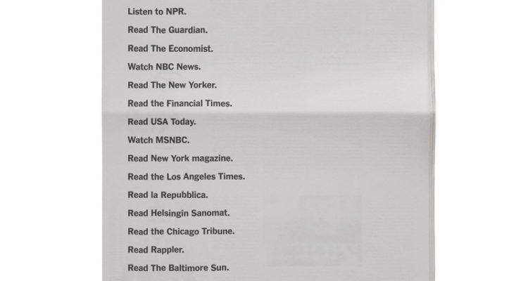 Campanya del New York Times pel Dia Mundial de la Llibertat de Premsa, 3 de maig 2018.