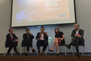 a Universitat de Columbia va acollir un debat sobre el Digital News Report 2018. D'esquerra a dreta, Erica Anderson (Google), Lydia Polgreen (HuffPost), Campbell Brown (Facebook) i Mark Thompson (The New York Times). Foto: Sergi Santiago.