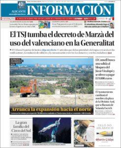 """Portada d'""""Información"""" del 19 de juliol de 2018."""