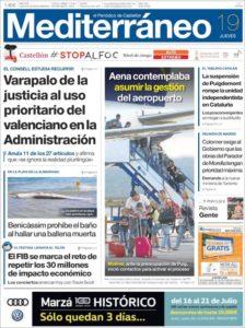 """Portada d'""""El Periódico Mediterráneo"""" del 19 de juliol de 2018."""
