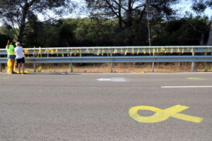 Llaços grocs a l'accés a la presó de Mas d'Enric, al Catllar, per donar la benvinguda a Carme Forcadell, el juliol de 2018. Foto: Núria Torres / ACN