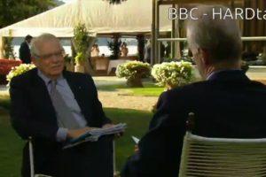 """El ministre d'Afers Exteriors espanyol, Josep Borrell, entrevistat al programa """"Hardtalk"""" de la BBC, una conversa emesa l'11 de setembre de 2018."""