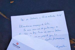 Carta de Jordi Cuixart als membres de Crític, escrita des de la Presó de Lledoners, el setembre de 2018. Foto: Crític.