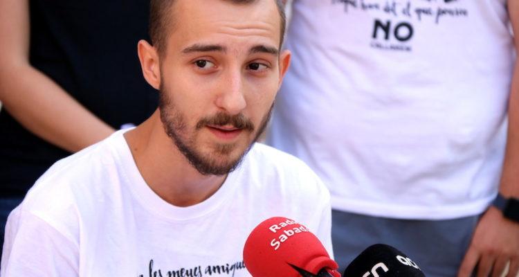 El raper Elgio, exmembre del grup La Insurgencia, en roda de premsa a Sabadell, el 20 de setembre de 2018. Foto: ACN / Norma Vidal