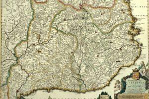 Mapa del Principat de Catalunya d'aproximadament el 1696, publicat a Amsterdam per Cornelis Danckerts. Imatge: Viquipèdia.