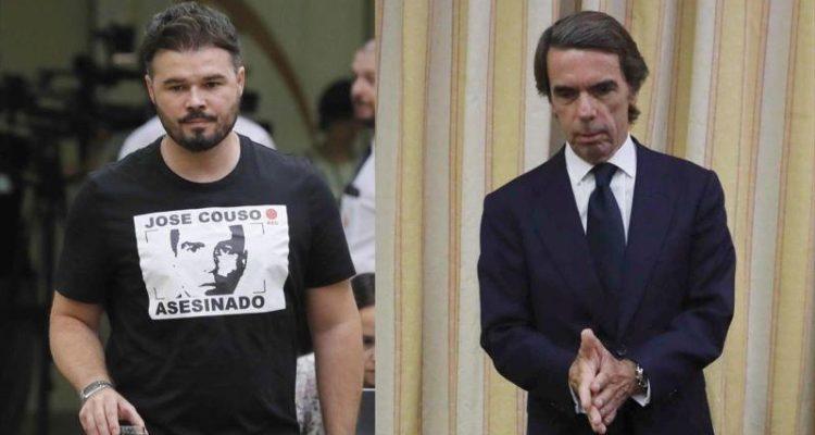 Rufián ha retret a Aznar la mort del càmera José Couso a l'Iraq, en la compareixença de l'expresident espanyol al Congrés dels Diputats.