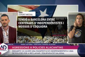 Entrevista a la portaveu de Jusapol a À Punt Directe, l'1 d'octubre de 2018.