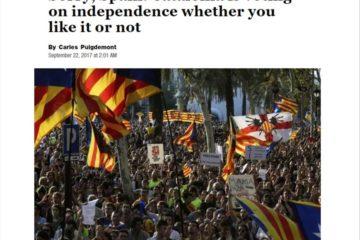 Article d'opinió de Carles Puigdemont al 'The Washington Post', el setembre de 2017.
