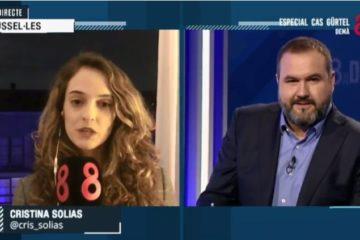 Connexió a l'informatiu '8 al dia' presentat per Jordi Armenteras amb la corresponsal a Brussel·les Cristina Solias. Imatge: 8tv.