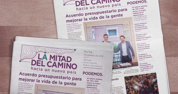 """""""La mitad del camino"""", la publicació editada aquest novembre per Podemos. Foto: Podemos."""