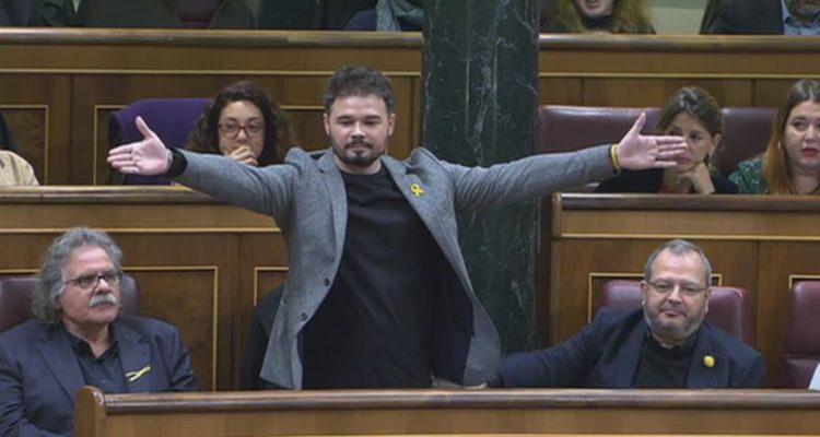 El portaveu adjunt d'ERC, Gabriel Rufián, moments abans de ser expulsat del ple del Congrés espanyol, després del seu enfrontament amb Borrell. Foto: ACN.