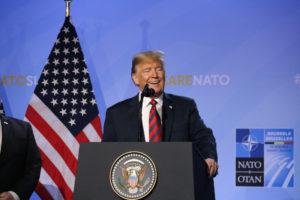 El president dels Estats Units, Donald Trump, durant la roda de premsa posterior a la cimera de l'OTAN a Brussel·les el juliol de 2018. Foto: Natàlia Segura / ACN.