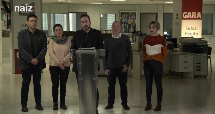 Els responsables de 'Gara' denuncien que el diari haurà d'assumir el deute d''Egin'. Imatge: Gara.