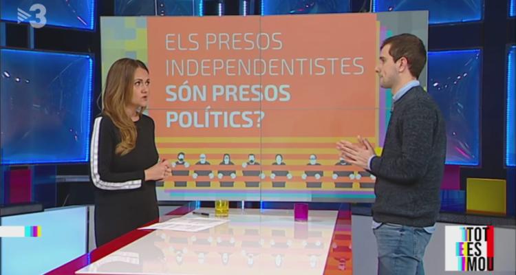 El periodista Bernat Surroca va parlar de l'informe de Mèdia.cat sobre els presos polítics al programa 'Tot es mou' de TV3, amb la periodista Sheila Alen, al febrer de 2019. Imatge: CCMA.