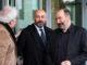 Els directors de Catalunya Ràdio i de TV3, Saül Gordillo i Vicent Sanchis, sortint de la Ciutat de la Justícia després de declarar com a investigats per l'1-O, l'1 de març del 2019. Foto: ACN / Laura Fíguls.